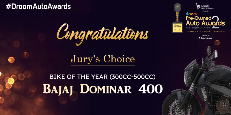 Bajaj Dominar 400- Jury's Choice New Bike of the year