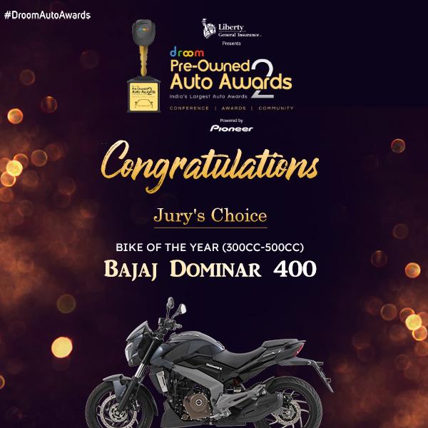 Bajaj Dominar 400- Jury's Choice New Bike of the year (300cc-500cc)