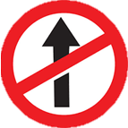 Straight Prohibited Sign